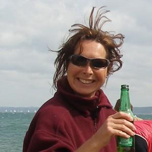 Kathy enjoying a beer!